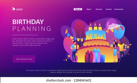 Happy people with gifts celebrating birthday at huge cake. Birthday party supplies, birthday party Invitations, birthday planning concept. Website vibrant violet landing web page template.