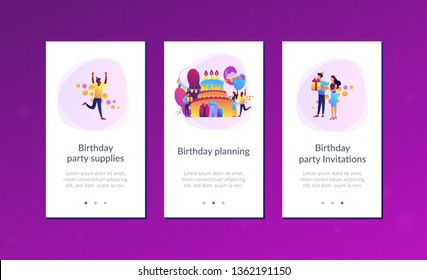 Happy people with gifts celebrating birthday at huge cake. Birthday party supplies, birthday party Invitations, birthday planning concept. Mobile UI UX GUI template, app interface wireframe