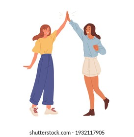 Happy people giving high five. Friends greeting or supporting each other. Informal hi gesture. Concept of friendship, partnership and success. Flat vector illustration isolated on white background