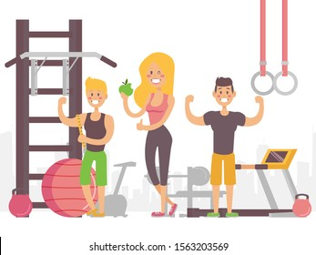 Happy people in gym, vector illustration. Smiling man and woman happy with their results after workout in fitness studio. Healthy lifestyle, smiling cartoon characters in flat style, gym trainers
