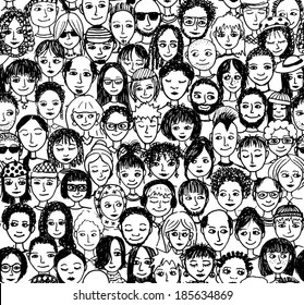 Happy people - hand drawn seamless pattern of a crowd of many different people from diverse cultural backgrounds who are smiling and happy (there's an image with unhappy people in my portfolio too)