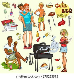 Happy people having BBQ party, vector collection, isolated.