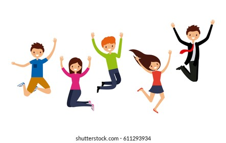 happy people having fun over white background. colorful design. vector illustration