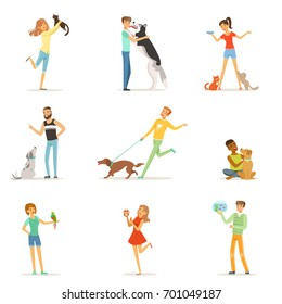 Happy people having fun with pets, man and women training and playing with their pets vector Illustrations