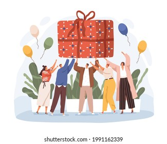 Happy people holding big wrapped birthday gift. Joyful men and women with huge giftbox. Anniversary celebration concept. Colored flat vector illustration of large present isolated on white background