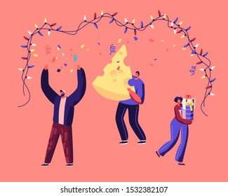 Happy People Holding Gift Box and Huge Piece of Cheese Dancing under Garland Celebrate 2020 New Year of Mouse Chinese Tradition on Corporate or Home Party Celebration. Cartoon Flat Vector Illustration