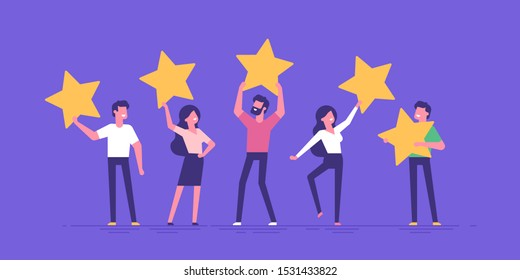 Happy people are holding review stars over their heads. Five stars rating. Customer review rating and client feedback concept. Modern vector illustration.