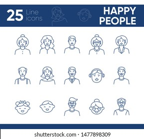 Happy people icons. Set of line icons on white background. Teenage boy, grandmother, grandfather. People concept. Vector illustration can be used for topics like application, lifestyle, family