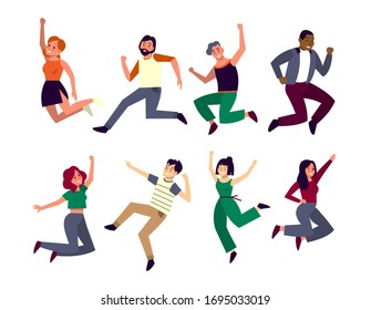 Happy people jump in the air. Idea of happiness and celebration. Woman and man full of energy jump with a smile. Isolated vector illustration in flat style