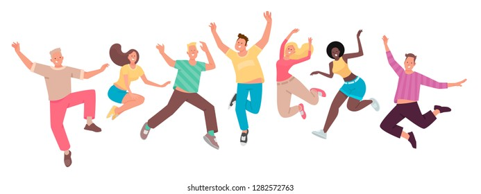 Happy people jump. A set of funny characters. Youth. The concept of happiness, joy and success. Vector illustration in flat style.