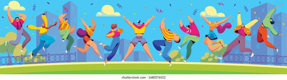 Happy people jumping in city, cartoon characters celebrating together, vector illustration. Men and women jumping and dancing, positive emotions. Excited cheerful people celebrating summer party