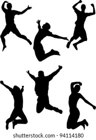 happy people jumping collection vector