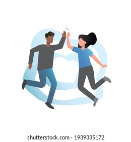 Happy people jumping in confetti on blue background.Men and boys,girls and women jump, celebrate, indulge, play, clap their hands. Jumping people clap their hands.Successful completion of work, tasks.