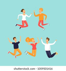 Happy people are jumping. Flat design vector illustration.