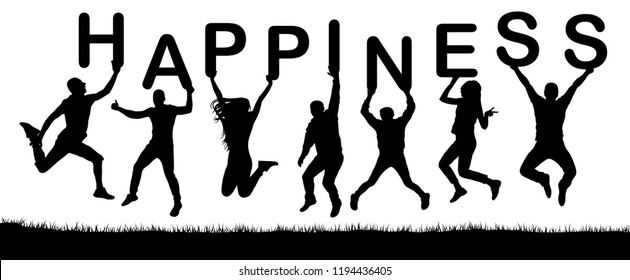 Happy people jumping, hold the letters in their hands, the word happiness. Vector silhouette