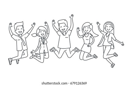 Happy people jumping line vector illustration isolated on white background