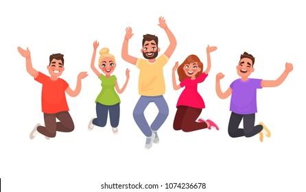 Happy people jumping on a white background. The concept of freedom, happiness, motion and friendship. Vector illustration in cartoon style