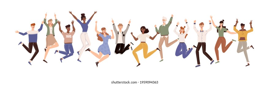 Happy people jumping set. Diverse group of joyful people with raised hands jumping together. Positive and laughing men and women. Young funny teens guys and girls jumping together. Flat illustration
