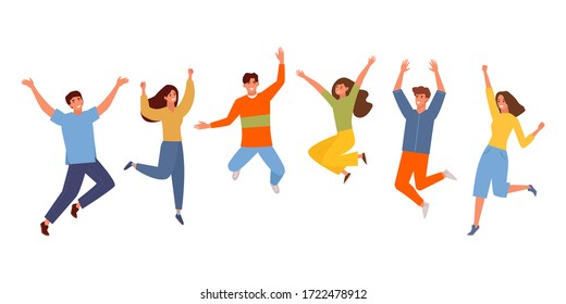 Happy people jumping set. Young funny teens guy, girl jumping together for joy joyful celebration victory team of smiling students celebrates success. Happy color cartoon vector graphics.