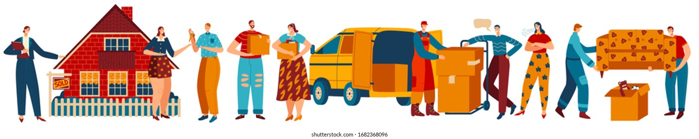 Happy people moving to new house, isolated cartoon characters, vector illustration. Couple buying new house, furniture delivery, real estate agency. People carrying boxes, couple relocating