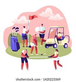 Happy People on Golf Field, Summer Relaxing at Golfclub. Summertime Sports, Outdoor Fun Activity, Healthy Lifestyle. Young Characters with Golf Equipment and Cart. Cartoon Flat Vector Illustration