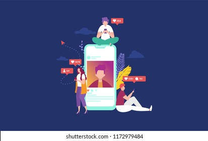 happy people on social media concept illustration, can use for, landing page, template, ui, web, mobile app, poster, banner, flyer
