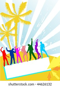 happy people on summer background - vector