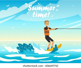 Happy people on vacation. Holidays on the sea! Beach activities. Vector illustration.