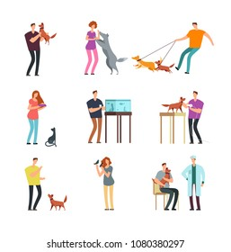 Happy people pet owner. Man, women and family training and playing with pets vector cartoon characters isolated. Illustration of people with dog and cat, bird and fish
