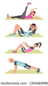 Happy people in plank on mat, lifting legs, fitness training and sport exercise vector. People in sportswear on rugs, daily workout and healthy lifestyle. Vector illustration in a flat style. EPS10