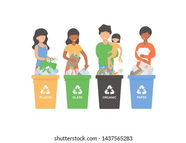 Happy people putting rubbish in trash bins, dumpsters or containers. Set of happy men and women practicing garbage collection, sorting and recycling. Flat cartoon vector illustration.