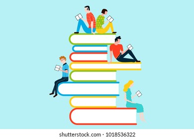 Happy people reading on tower of books - vector colorful illustration isolated on background