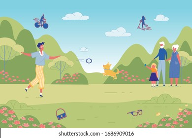 Happy People Rest in Green Public Park. Pastime in City Garden. Little Girl Shooting Video with Man Playing Dog. Granddaughter Walking with Grandma and Grandpa. Vector Lifestyle Illustration