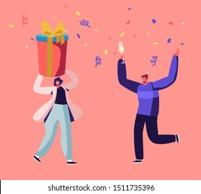 Happy People in Santa Hats Holding Gift Box and Drinking Champagne on Corporate or Home Christmas Party Celebration. Man and Woman Giving Presents on New Year Holidays Cartoon Flat Vector Illustration