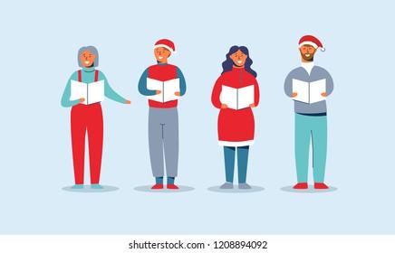 Happy People in Santa Hats Singing Christmas Carols. Winter Holidays Characters. Xmas Singers Caroling Choir Man and Woman. Vector illustration