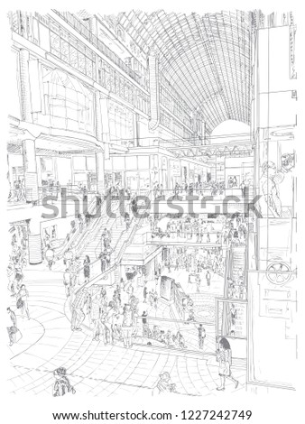 happy people shopping together supermarket large stock vector Toronto Woman holiday clearance sales concept some shoppers using escalators hand drawing city of toronto canada vector vector