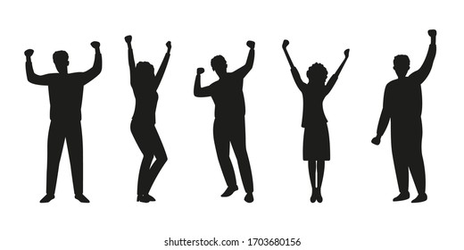 Happy people silhouette set. Men and woman rising Hands up. Dancing persons. Party, success, friendship, celebration, joy and fun concept. Vector illustration.