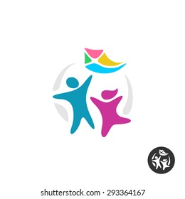 Happy people silhouettes with kite. Kids logo.