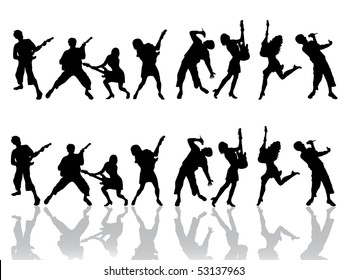happy people silhouettes - vector