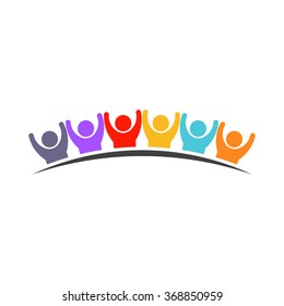 Happy People of six persons. Concept of teamwork winner. Vector design graphic