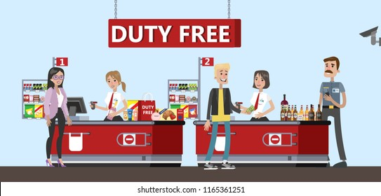 Happy people standing at the counter in duty free store. People buying cheap cosmetics, alcohol and food. Tax free. Vector flat illustration