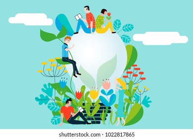 Happy people taking care of the environment and the earth loving the garden and nature - Vector conceptual illustration for ecology concept and ecological idea