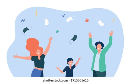 Happy people throwing up facial masks. Virus, victory, end flat vector illustration. Pandemic and protection concept for banner, website design or landing web page