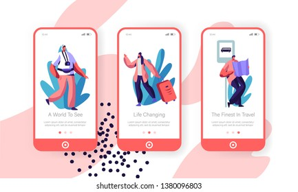 Happy People Traveling with Luggage, Photo Camera and Map to Foreign Country Concept for Website or Web Page. Excursion for Traveler Mobile App Page Onboard Screen Set Cartoon Flat Vector Illustration