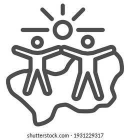 Happy people under sun line icon, life without addiction concept, anti drug sign on white background, Narcotics free people icon in outline style for mobile concept. Vector graphics