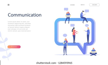 Happy people use mobile smartphone and laptop for chatting in social media on chat bubble, people communicate , can use for  landing page, template, ui, web, mobile app, poster, banner. Vector