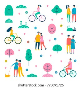 Happy people. Vector illustration of a flat design.