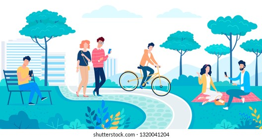 Happy people walking and resting in the green eco city park flat vector illustration