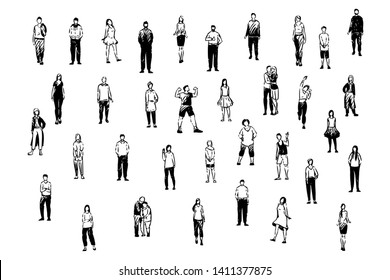 Happy people, young and old couples, school students, adults in casual and formal clothes, friends and family set. Various friendly men and women concept sketch. Hand drawn vector illustration