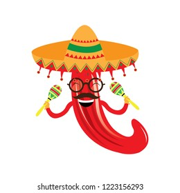95cc1148dfe7c Happy pepper with maracas and a hat. Vector illustration design